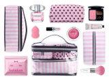 Jeux cosmétiques de sac de bel du POINT 4PCS de PVC article de toilette imperméable à l'eau rose portatif de filles