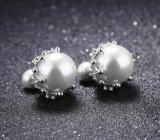 2018の新しい宝石類のスタッドのイヤリング小さい輝いたCZは女性党ギフトのための白い模造真珠の倍の側面Brincosを囲む