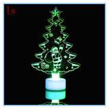 Luz colorida de acrílico del árbol de navidad de la noche del cristal LED de la venta caliente