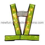 Veste reflexiva de piscamento do diodo emissor de luz do engranzamento Noctilucent amarelo