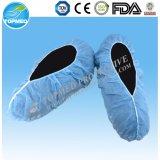 Tampa não tecida da sapata da tampa plástica da sapata do CPE PP+PE do azul