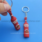 Trousseau de clés en caoutchouc gravé en relief de logo de bouteille de vin pour promotionnel, côté de double de trousseau de clés de PVC