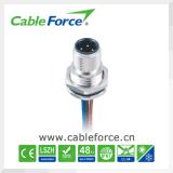 M12 8pin 산업 자동화를 위한 남성 똑바른 방수 케이블 연결관