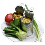 Aucun champignon de couche en boîte de nourriture verte de champignons de paris de pesticide