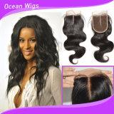 """"""" Hairpiece brasiliano dei capelli del merletto 3.5*4 di Cosure dell'onda di seta del corpo (CL-020)"""