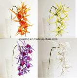 La disposizione artificiale dell'orchidea dei centri artificiali dell'orchidea di Ebay fiorisce il Cymbidium giallo artificiale di seta dei fiori artificiali
