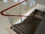 Estilo de moda moderna chinesa de aço inoxidável de vidro corrimão de escadas de madeira