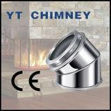 6'' (150mm) de acero inoxidable de doble pared de chimenea aislados de codo de 45 grados