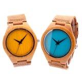 Reloj de madera de la venda de nylon de la manera para la señora y el caballero