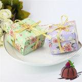 Favores florales del banquete de boda de los rectángulos de regalo del rectángulo del caramelo del trapezoide con las cintas