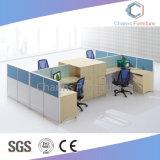 파일 캐비넷 (CAS-W31429)를 가진 현대 시트 4개 L 모양 직원 테이블 목제 워크 스테이션