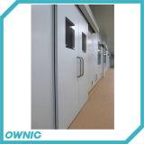 Puerta deslizante de la Duble-Hoja automática de la placa de acero del hospital