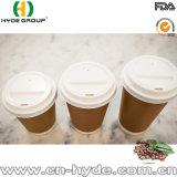Kraft gruesa pared de taza de café caliente con cubierta para el mercado europeo