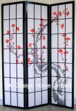 Schwarze Farben-populäres Drucken-Reis-Papier-nichtgewebtes und hölzernes Blüten-des Muster-X Panel 3 japanische Artfaltendes des Shoji-Bildschirm-Raum-Teiler-W/Plum