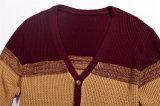 camisola do casaco de lã dos homens da malha da V-Garganta da mola 100%Cotton com tecla