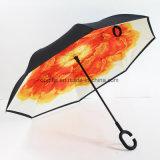 熱い販売は二重層Cの形のハンドルによって逆にされた傘をカスタマイズした