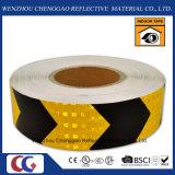 PVC黒くおよび黄色のConspicuityの矢の反射ステッカーロールスロイス5cm (CG3500-AW)