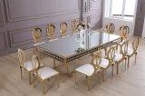 황금 스테인리스 식탁이 6명의 사람들에 의하여 최고 미러 대리석 무늬를 넣는다