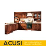 Nuevos muebles al por mayor de la cocina del gabinete de cocina de madera sólida de L estilo al por mayor (ACS2-W14)