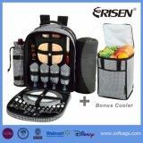 4 Лицо Клетчатую рюкзак для пикника с охладителем моторного отсека