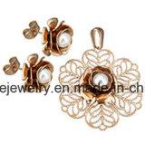 Nagel en de Tegenhanger van het Oor van de Manier van de Reeksen van de Juwelen van Shineme de Goud Geplateerde met Arduinsteen (ERS6998)