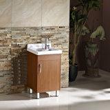Vanité simple de bassin de blanchisserie en bois solide de porte de Brown