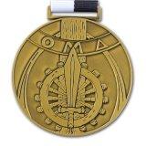 カスタム金属の金は遊ばすリボン(xd-0832)が付いているメダルを