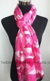 Senhora viscosa cor-de-rosa impressa Geometic macia Lenço (HWBVS24)