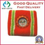 Wristband feito sob encomenda do esporte do algodão do presente da promoção do bordado do logotipo