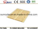 Painéis de um teto de madeira do PVC da cor do sulco, painel de parede plástico, Cielo Raso De PVC