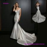 Bördeln Ausschnitt-Hochzeits-Kleides der Illusion-des rückseitigen tauchenden V mit Sitz-Aufflackern-Fußleiste