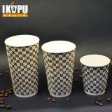 Aislamiento de alta calidad de café desechables vasos de papel rizado