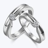 시뮬레이트한 다이아몬드는 은 한 쌍 반지 세트를 박아 넣었다