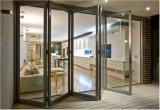 Двойной алюминий сползая складывая стеклянную дверь с анодированной серебряной рамкой