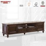 Support de télévision de luxe en bois massif en noyer / armoire de télévision (GSP13-008)