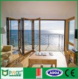 Porte pliante en verre en aluminium de nouvelle conception avec verre trempé