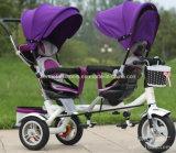 Трицикл младенца детей малышей места двойника 2 для близнецов