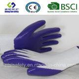 Interpréteur de commandes interactif de polyester avec les gants de travail enduits par nitriles (SL-N102)