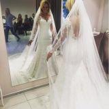 Двойной слой a - линия платье втулки шнурка полнометражное Bridal