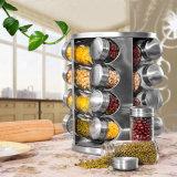 17 op smaak brengend/de Roterende die Specerij plaatsen van het Olie-en azijnstelletje van het Glas voor de Schudbekers wordt geplaatst die van Pepper&Salt van het Kruid het Rek van de Kruik van de Opslag van de Keuken van de Nevels van de Doos kruiden