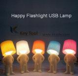 USB再充電可能なLED夜ライト微笑の男の子表ライト