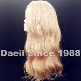 Parrucca piena del merletto dei capelli biondi con l'onda del corpo