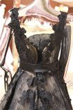 La robe de mariage noire de soirée de Ballgown de lacet rectifie Wgf143
