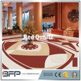 Quarzo rosso naturale costruito Polished per il controsoffitto della cucina