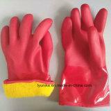 Красный ПВХ водонепроницаемый теплые рабочие перчатки