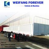 三車軸側面の側板か半塀の貨物トラックのトレーラー