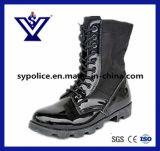 Mens Bottes en cuir noir véritable militaire pour la police (SYSG-005)