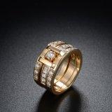 CZ 두 배 원형 금에 의하여 도금되는 보석 반지를 가진 구리