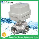 Valvola a sfera motorizzata 3 modi motorizzata elettrica dell'acciaio inossidabile Ss304