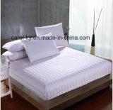 El algodón 300TC Textil ropa de cama blanca con rayas Hotel Juego de Sábana